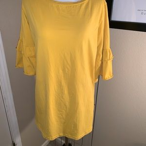 Mustard stretchy top with ruffle sleeves